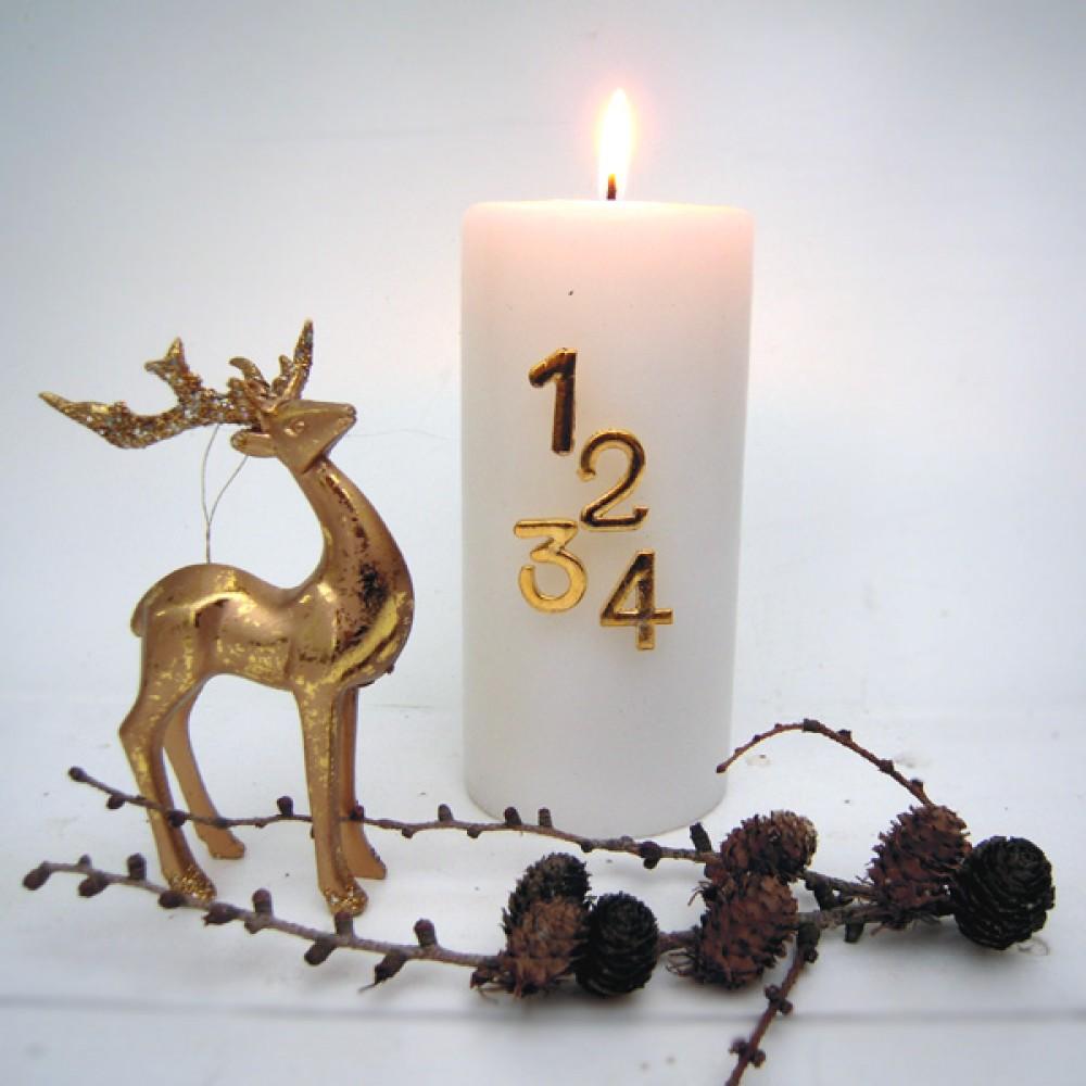 Adventstal m/nål til lys Guld-30