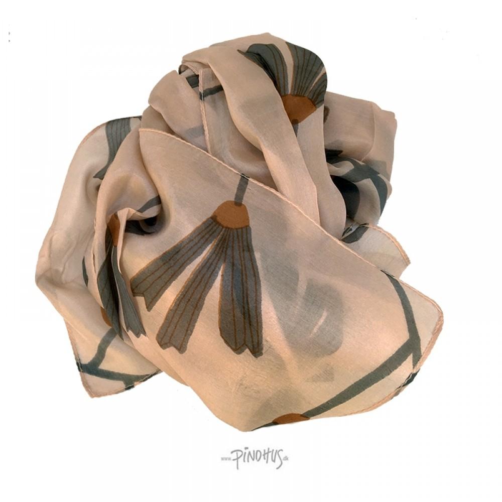 Aperitif silke tørklæde - Peach/grey flower
