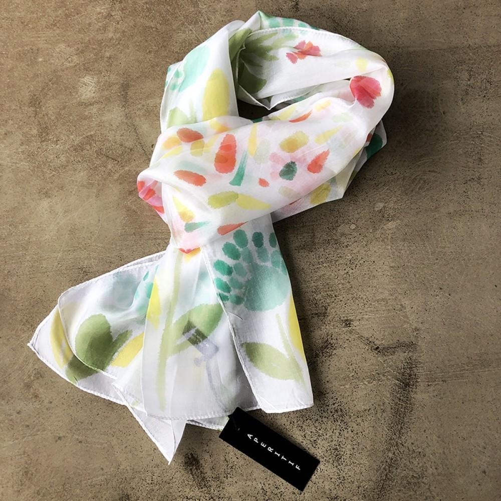 Aperitif silke tørklæde - White flower