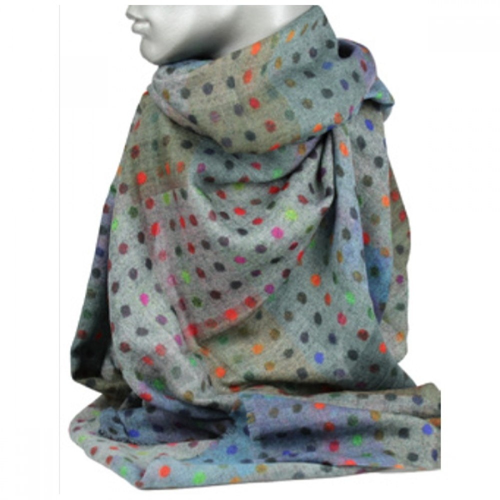 Aperitif tørklæde - Uld/silke grey varm spot