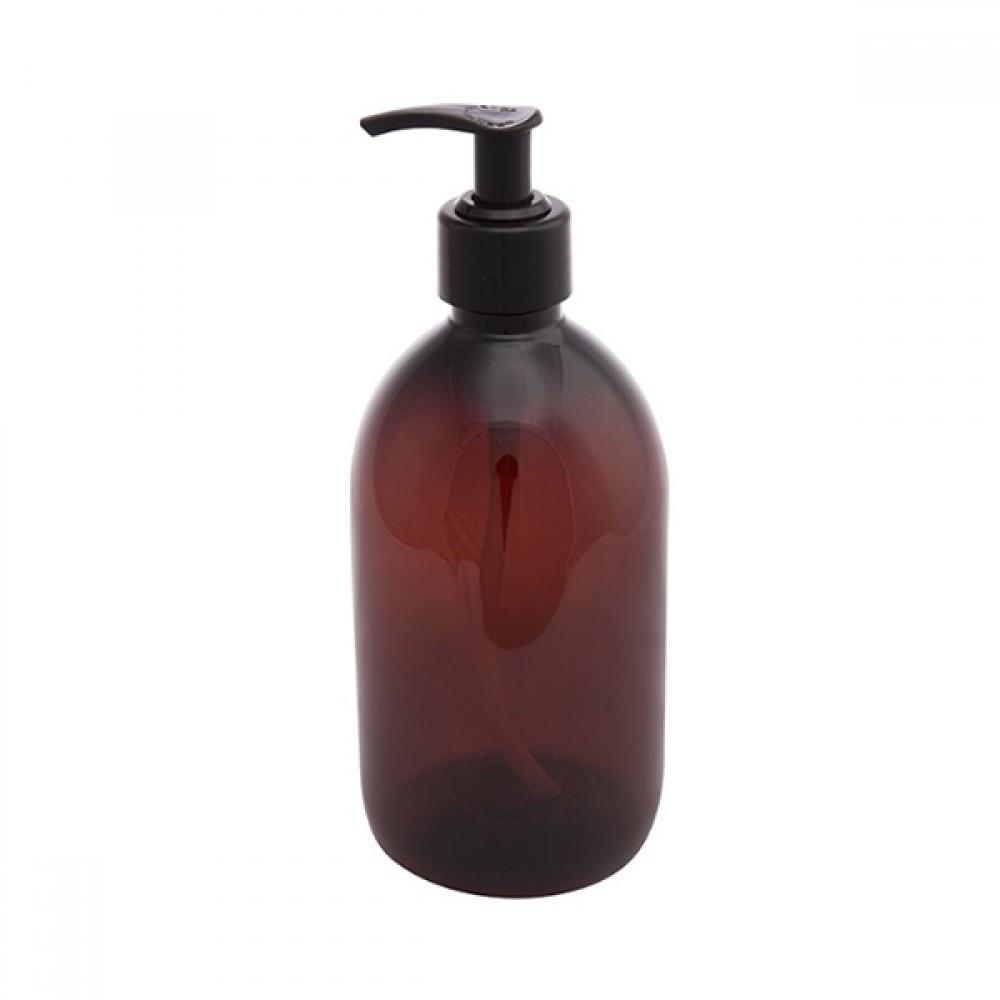 Plastik flaske m/pumpe brun 500ml