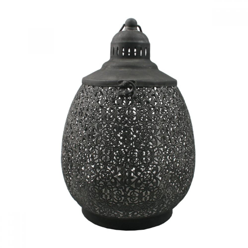 Dråbeformet Lanterne grå H35,5cm-31