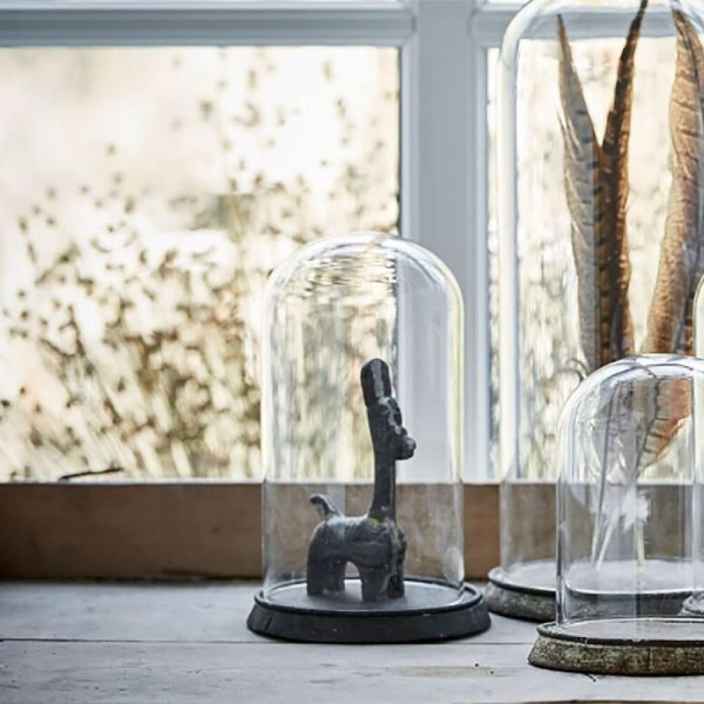 Glasklokke m/jern bund H19cm