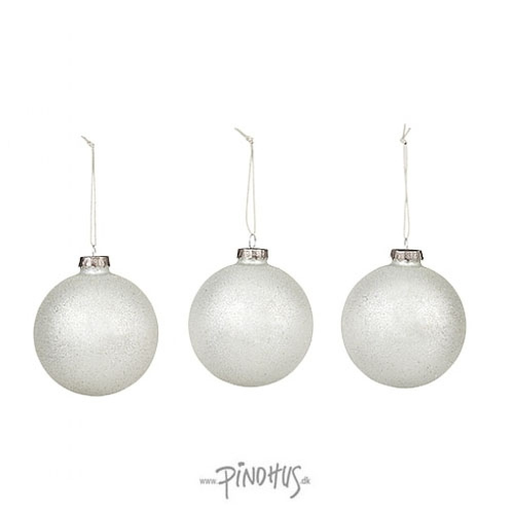 Julekugle i æske 3 stk. hvid-31