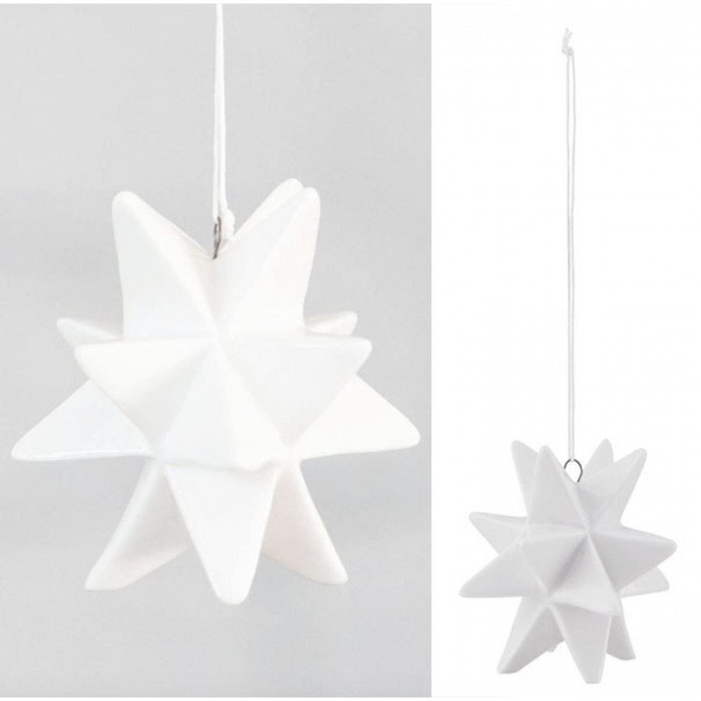 Keramik stjerne ophæng hvid-31