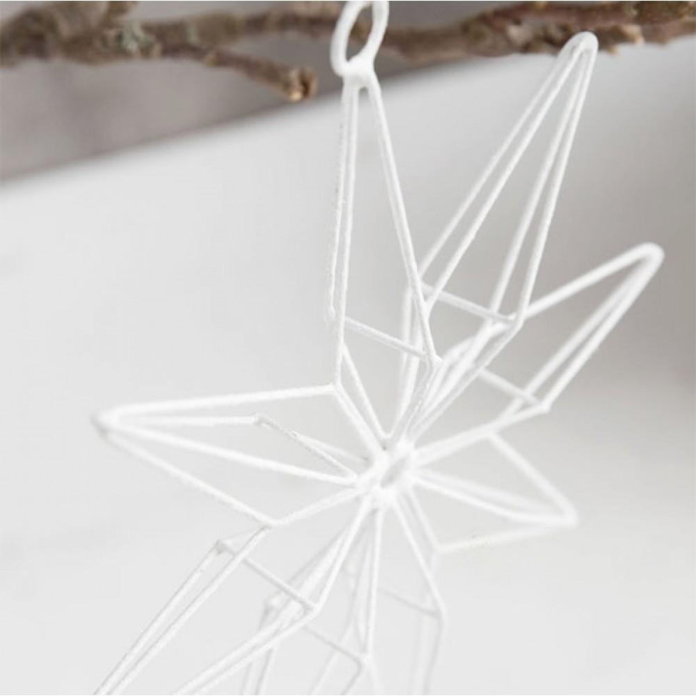 3 stk. hvide glimmerstjerner 20cm-31