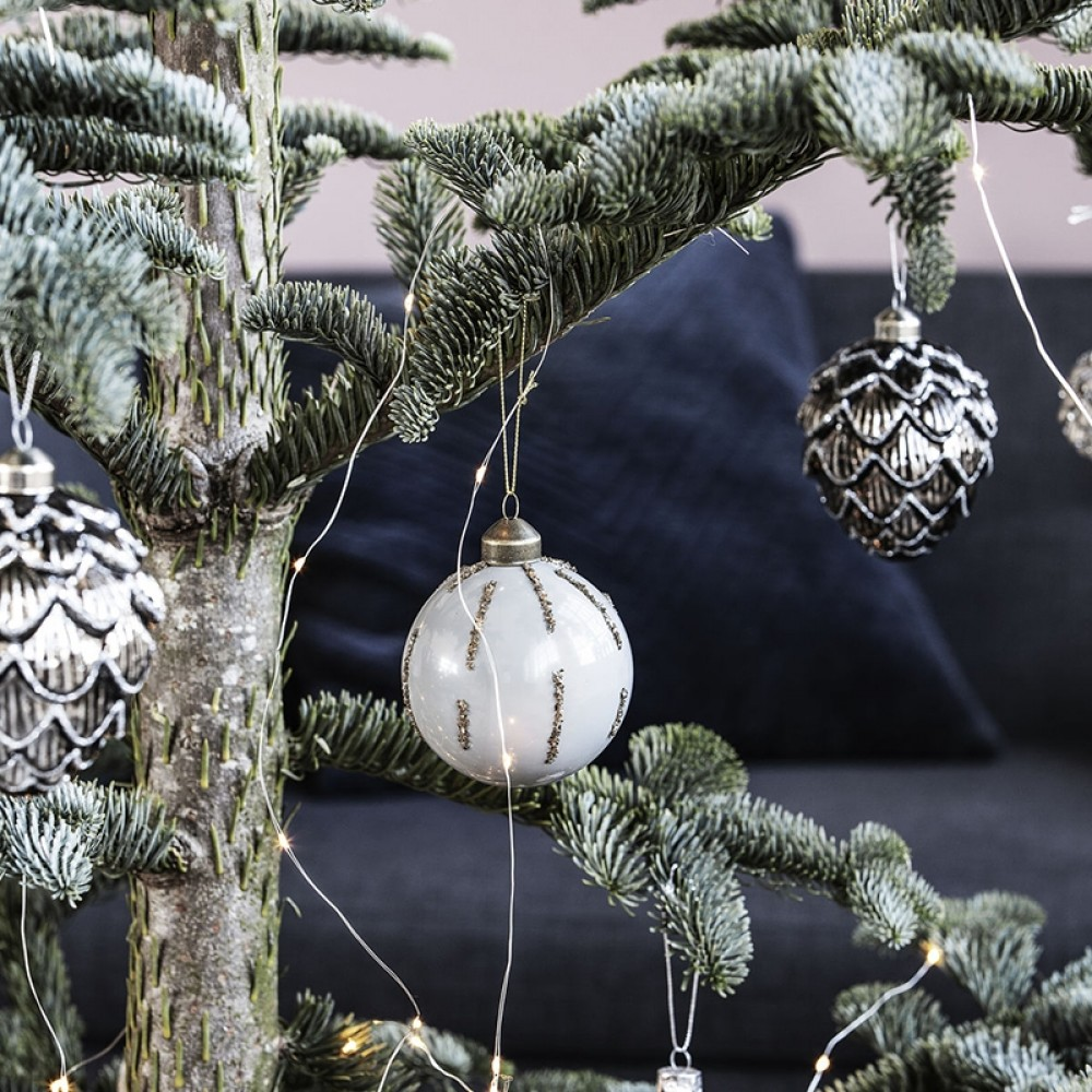 Ornament Julekugle Gold details 8cm-32
