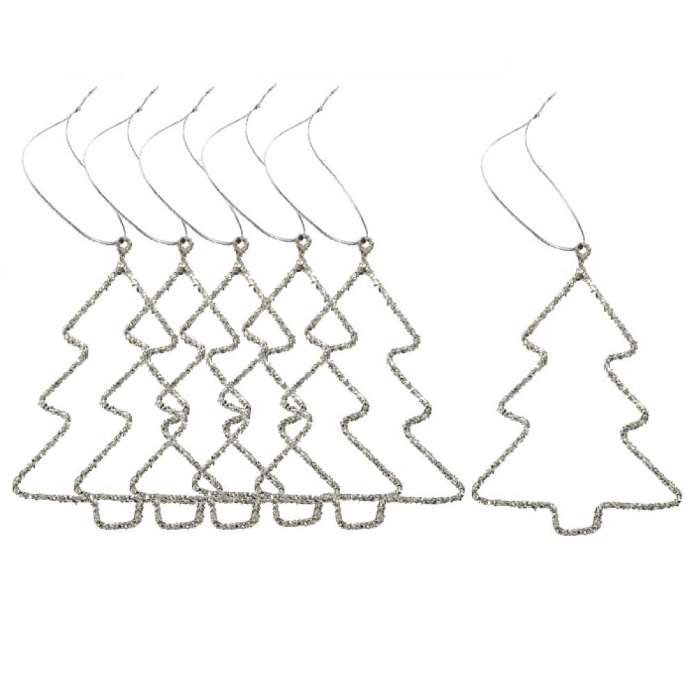 Ophæng 6 stk. juletræ m/glimmer-3