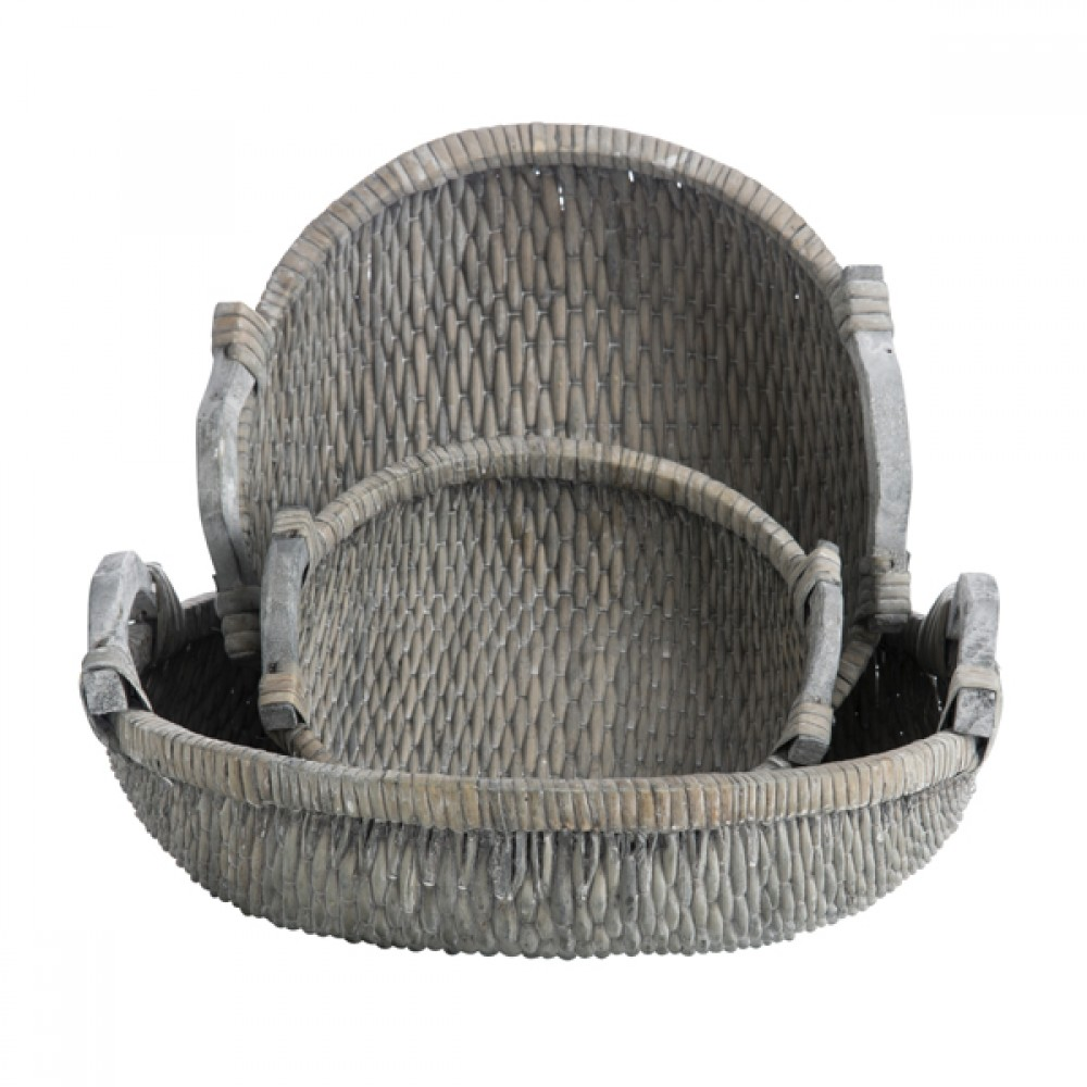 Kurv m/håndtag grå vask-30