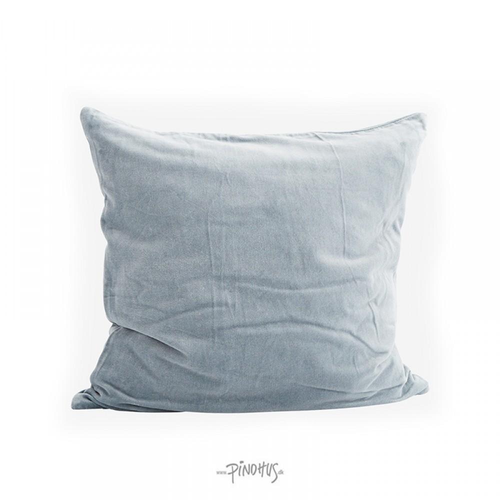 Pude Velour lys grå/blå 50x50cm-31