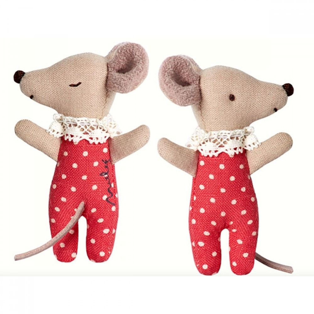 Maileg Baby mus i æske (rød pige)-31