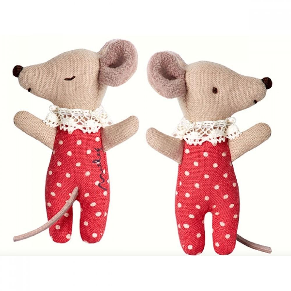 Maileg Sleepy baby mus i æske (rød pige)-31