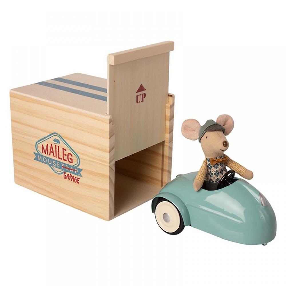 Maileg - Blå bil, mus & garage