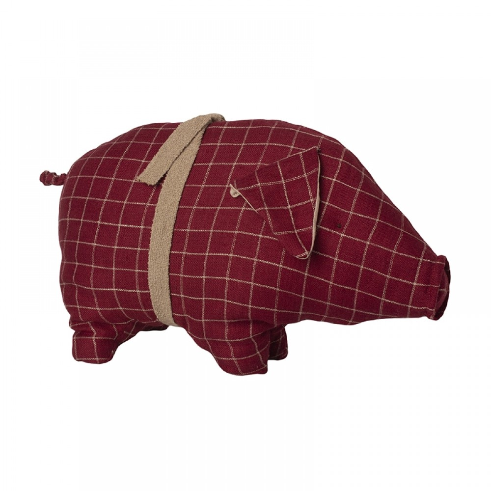 Maileg Jul - Rød gris m/tern