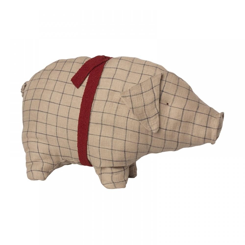 Maileg Jul - Hørfarvet gris m/tern