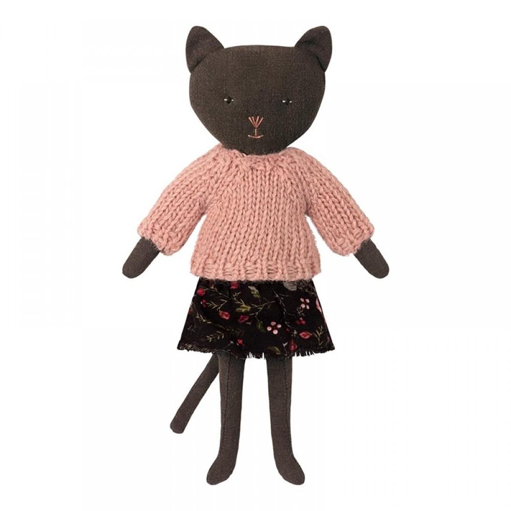 Maileg Mørk kat m/ rosa strik-31