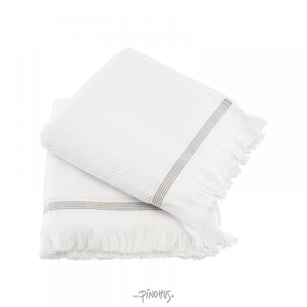 Meraki - Øko. håndklæde hvid m/strib 50x100cm