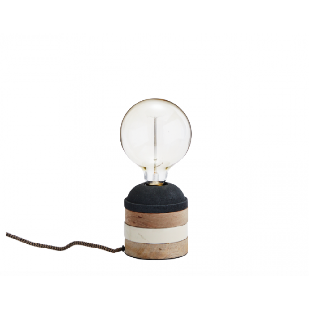 Bordlampe Træ grå/creme-31
