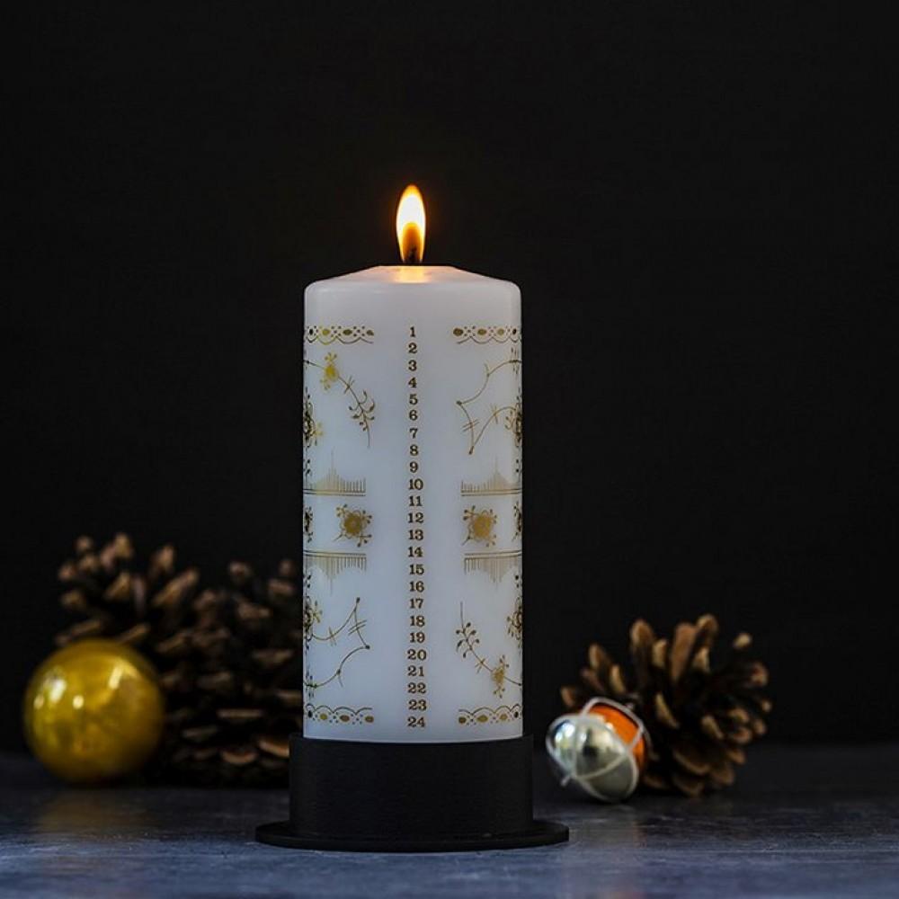 Kalenderlys Mussel gold 7x18cm