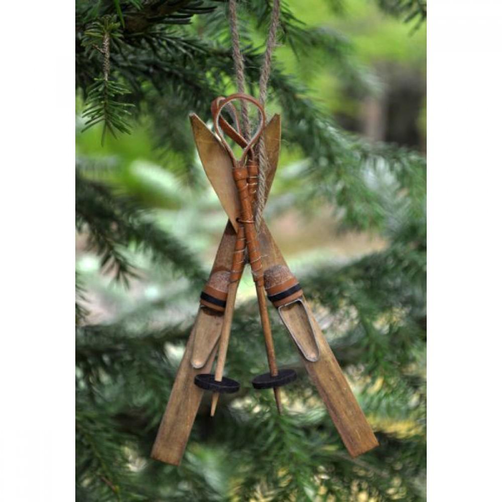 Ornament Ski/skistav i træ-30