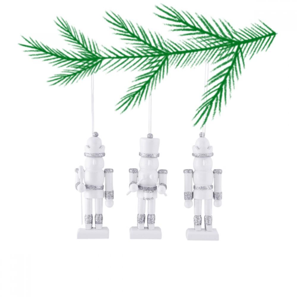 Ornament 3 stk. guard hvid/sølv-30