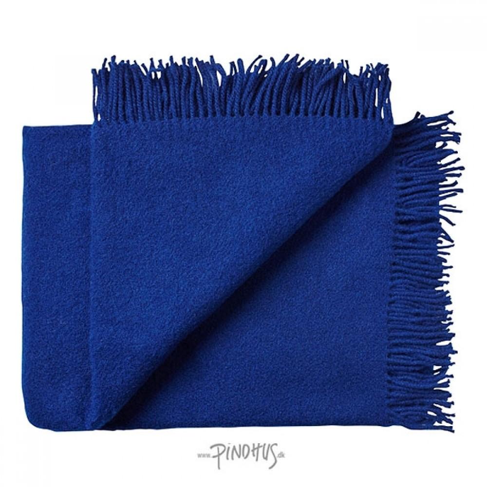 Uld plaid athen - kobolt blå