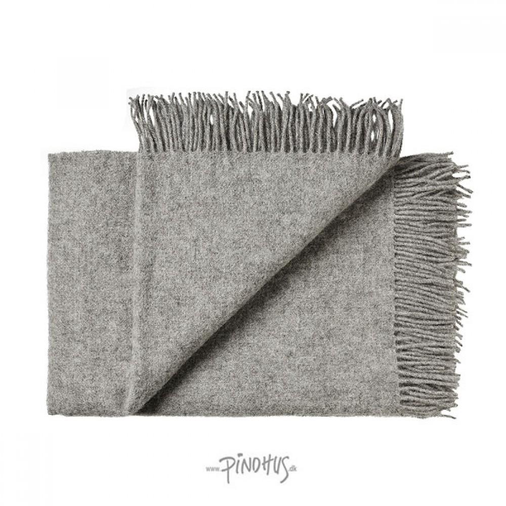 Uld plaid athen - lys grå melange