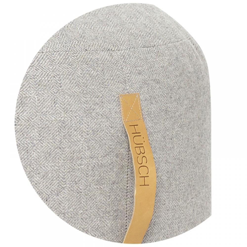 Uld Puf Lysgrå zigzag Ø50cm-33
