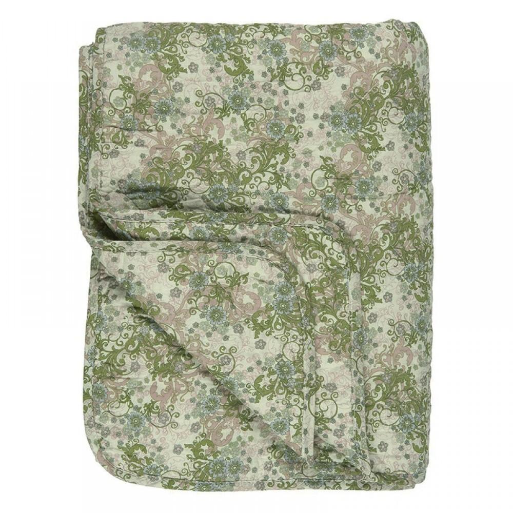 Ib Laursen - Quilt Grøn/beige blomst