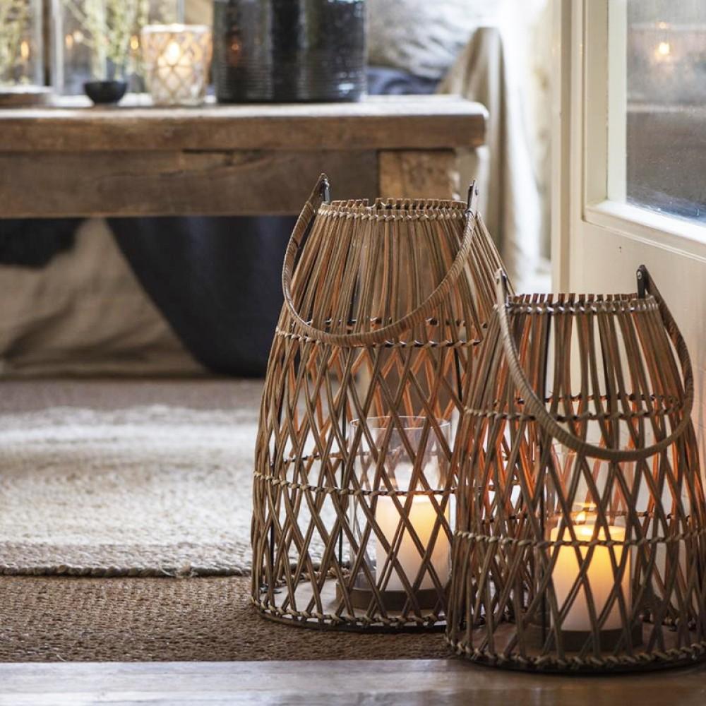 Ib Laursen - Rattanflet lanterne H33cm