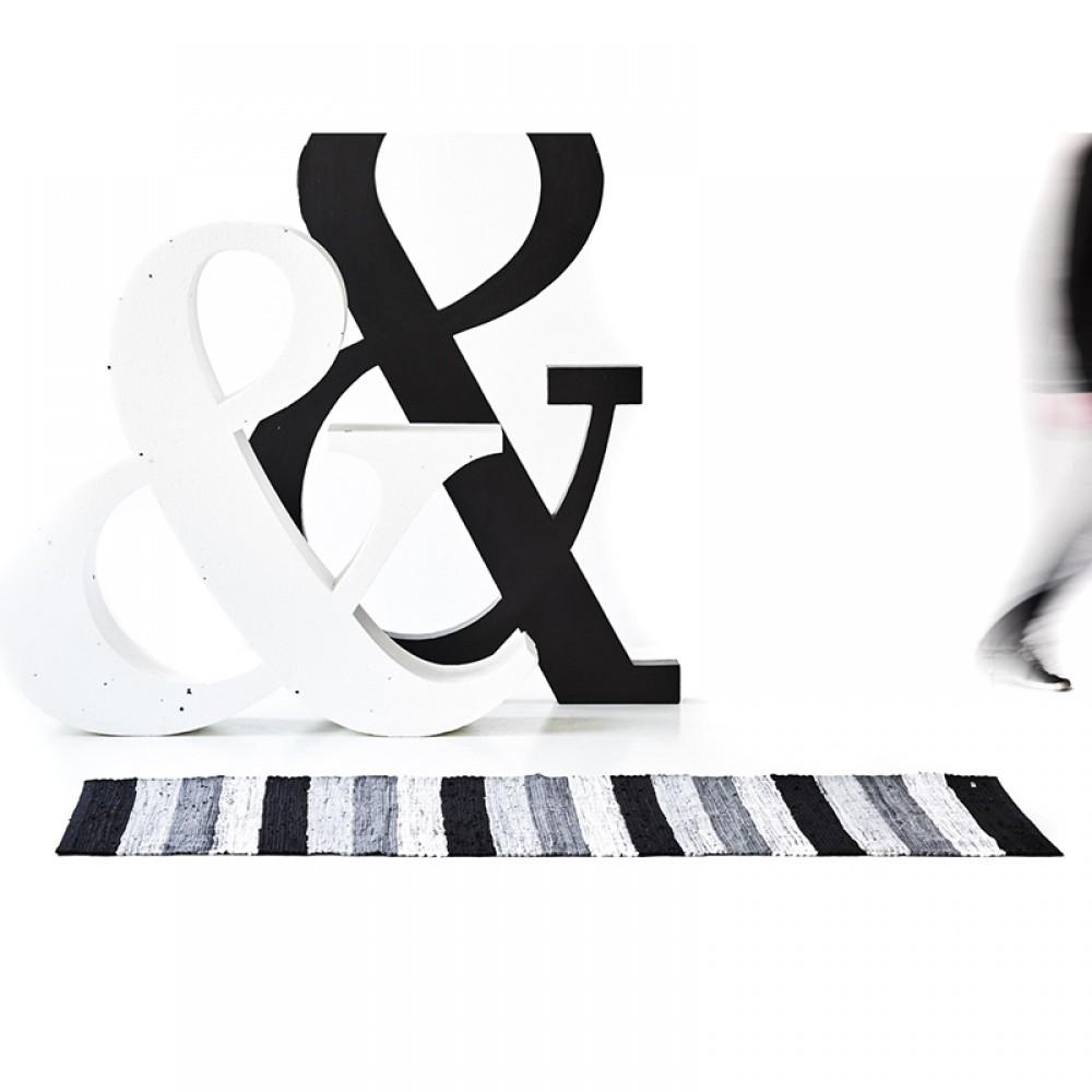 Kludetæppe bomuld Hvid/grå/sort strib-32