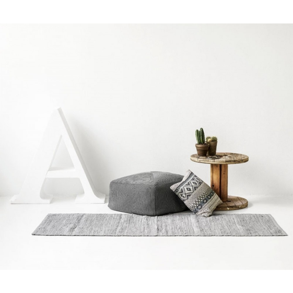 Kludetæppe bomuld Lysgrå-02