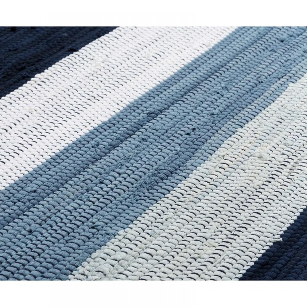 Kludetæppe bomuld Hvid/blå strib-31
