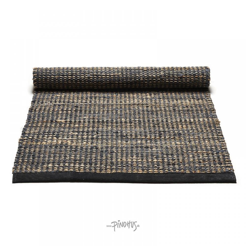 Jute læder tæppe Graphite-31