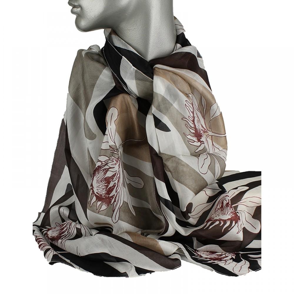 Aperitif silke tørklæde Beige/sort flower-32