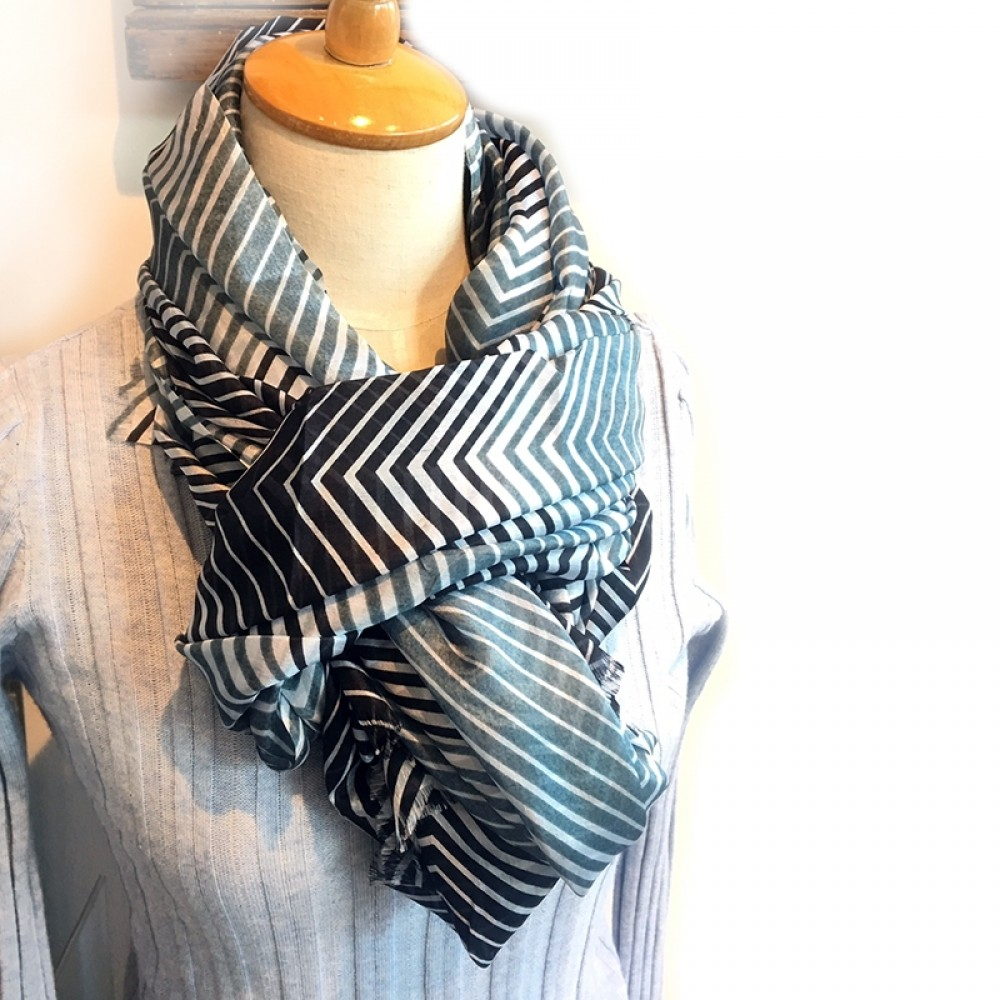 Aperitif silke tørklæde blue stripe-32