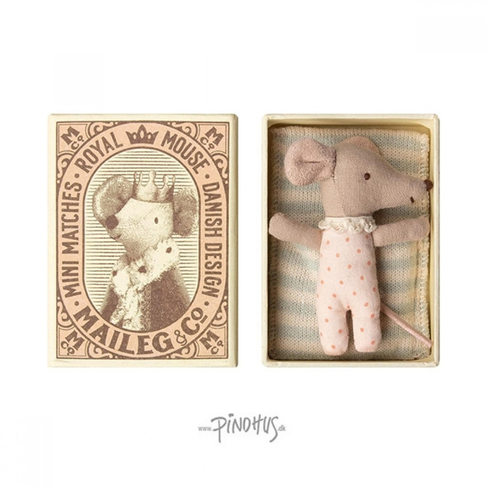 Maileg Sleepy baby mus i æske (pige)-31