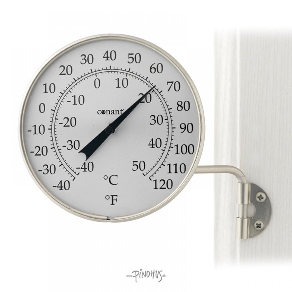 Udendørs alu sølv termometer Rundt-31