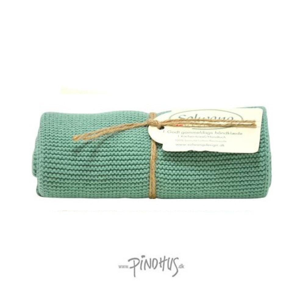 Solwang strikket håndklæde - Almue grøn