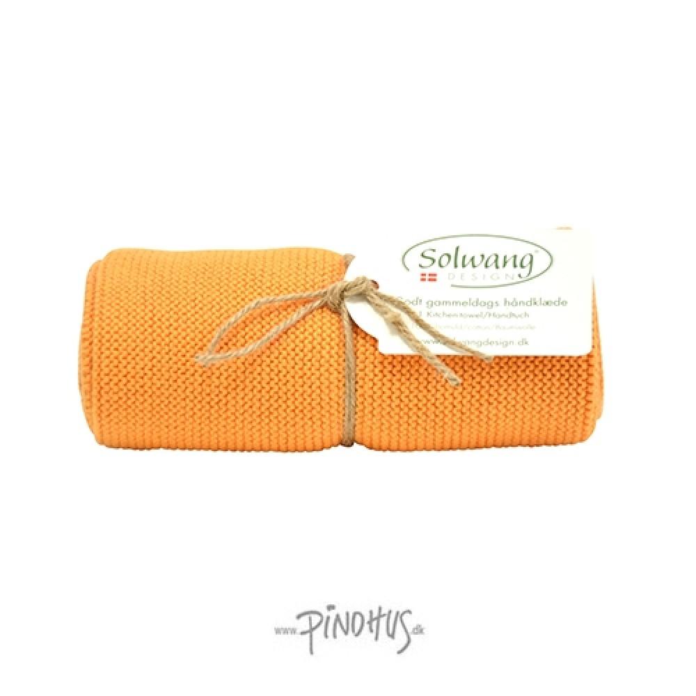Solwang strikket håndklæde - Lys brændt orange