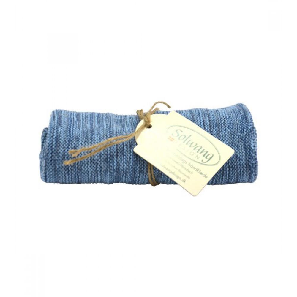 Solwang strikket håndklæde Blåmeleret-30