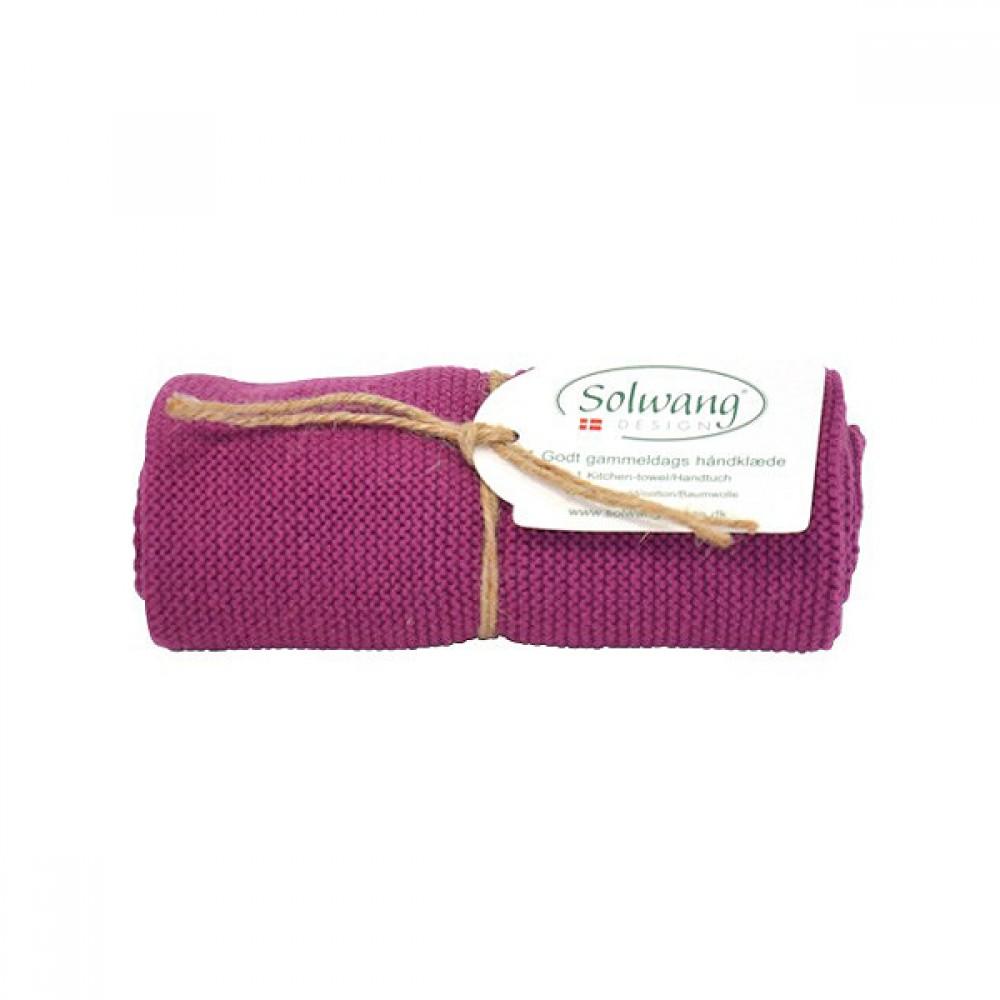 Solwang strikket håndklæde Blomme-30