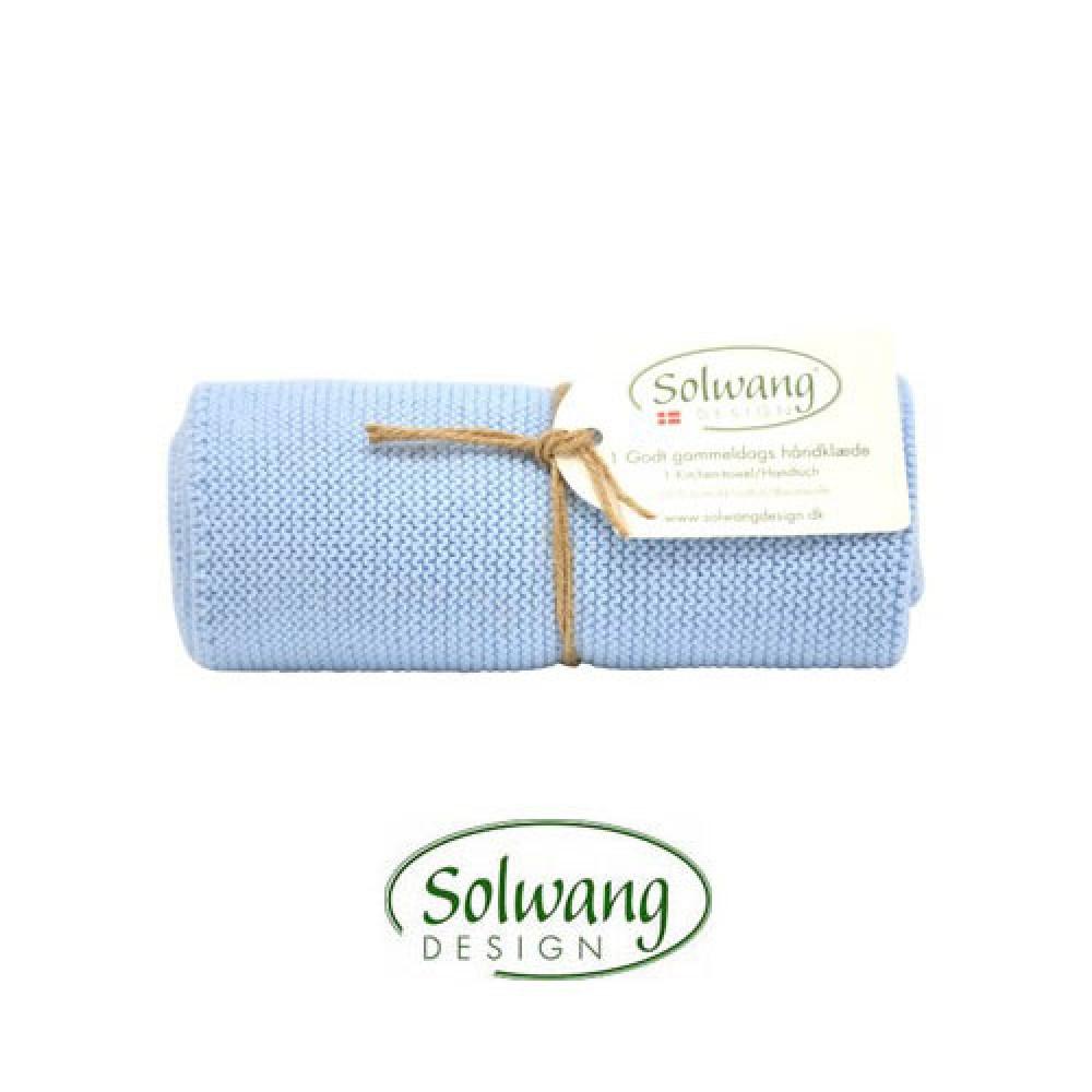 Solwang strikket håndklæde Isblå-30