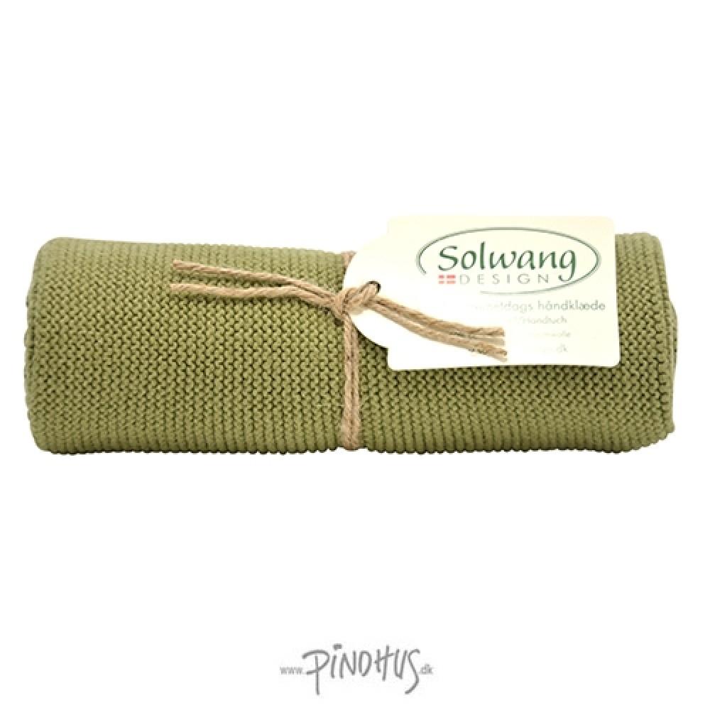 Solwang strikket håndklæde - Oliven