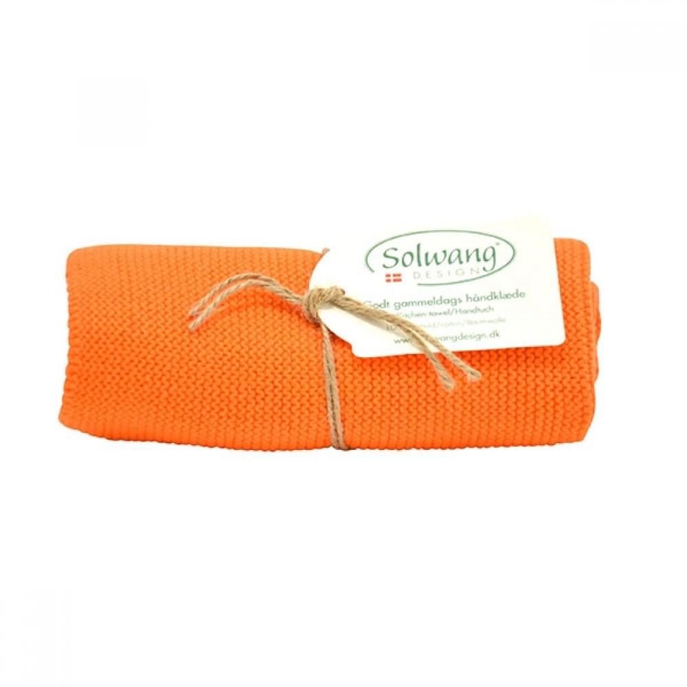 Solwang strikket håndklæde - Brændt orange