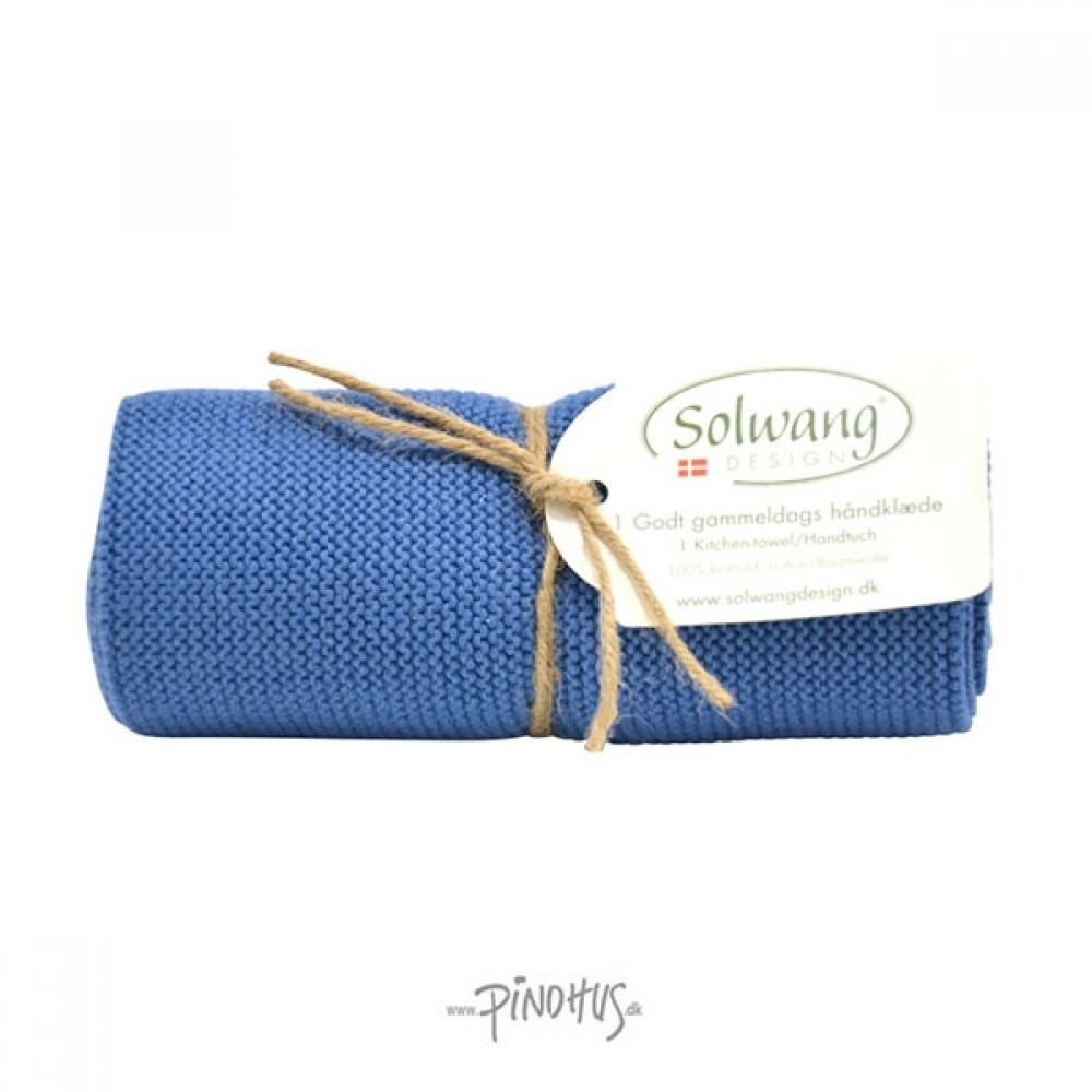 Solwang Strikket Håndklæde - Støvet blå
