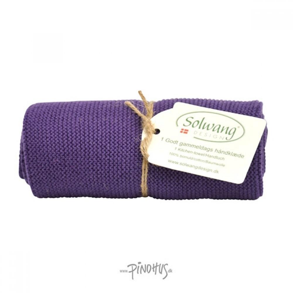 Solwang Strikket Håndklæde - Mørk lilla