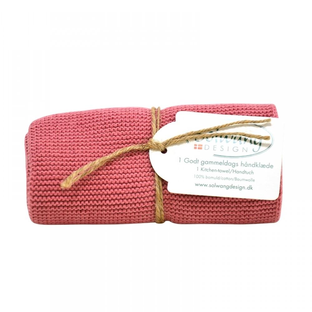 Solwang strikket håndklæde - Antik rosa