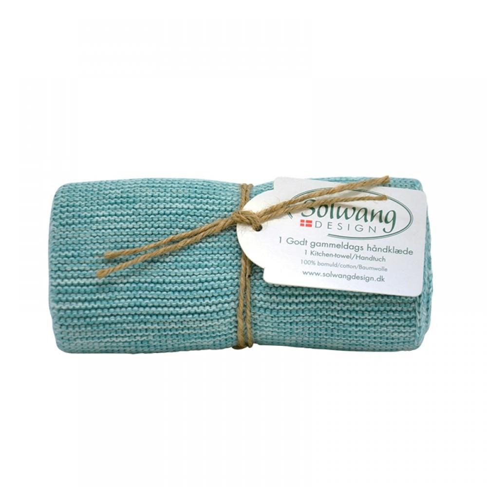 Solwang strikket håndklæde - Aqua mix