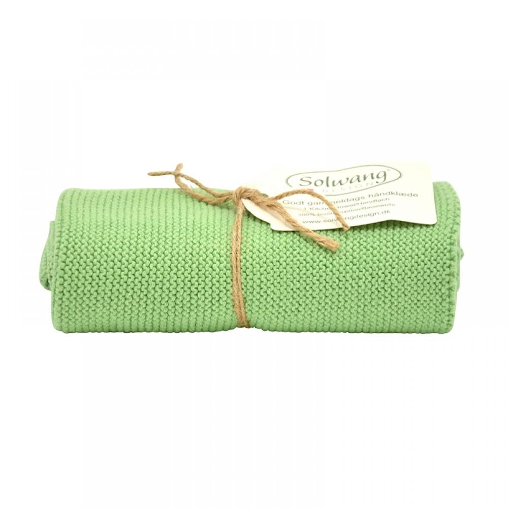 Solwang strikket håndklæde - Støvet grøn